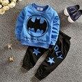 2016 зима детская одежда набор детей Мультфильм бэтмен Футболка толстовка пальто + брюки 2 шт. костюм baby boy хлопок набор