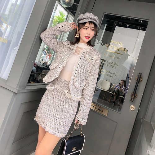 2018 новый осенний роскошный модный подиумный дизайнер твид комплект из двух предметов, теплый зимний комплект Для женщин Куртка-кардиган пальто + Высокая Талия бахромой и мини-юбка, костюмы