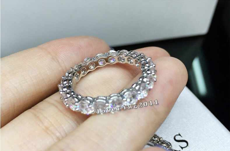 Brand Women Fashion Jewelry Full Round 4mm AAAAA zircon cz S925 silver Jewelry Engagement Wedding Band Ring for women