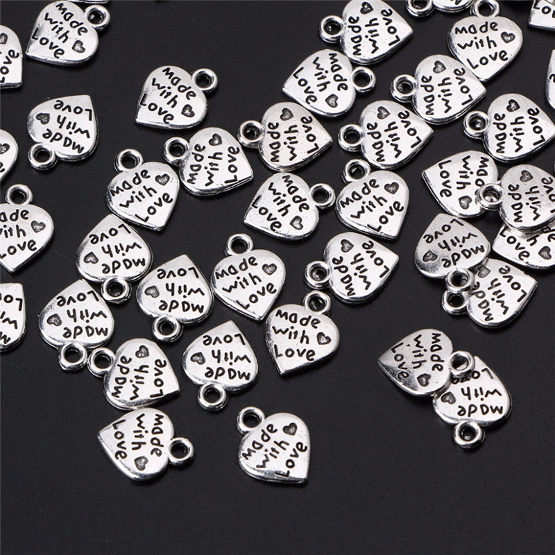 50PCS Made With Love Heart Charms Pendants Wedding Decoration Handmade Gift Accessories DIY Craft Embellishment Party Supplies
