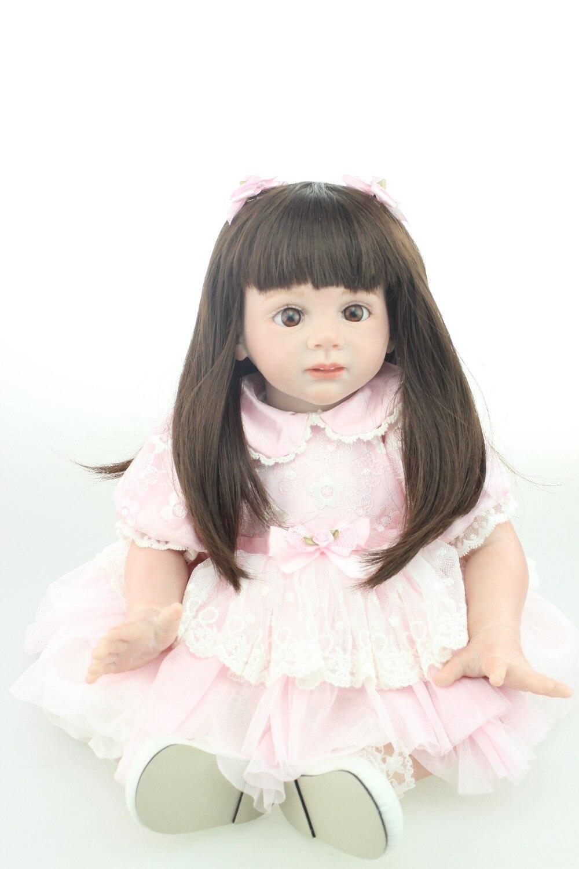 все цены на Handmade fashion doll lifelike reborn todder girl doll glue with long wig wholesale baby dolls fashion doll Christmas gift онлайн