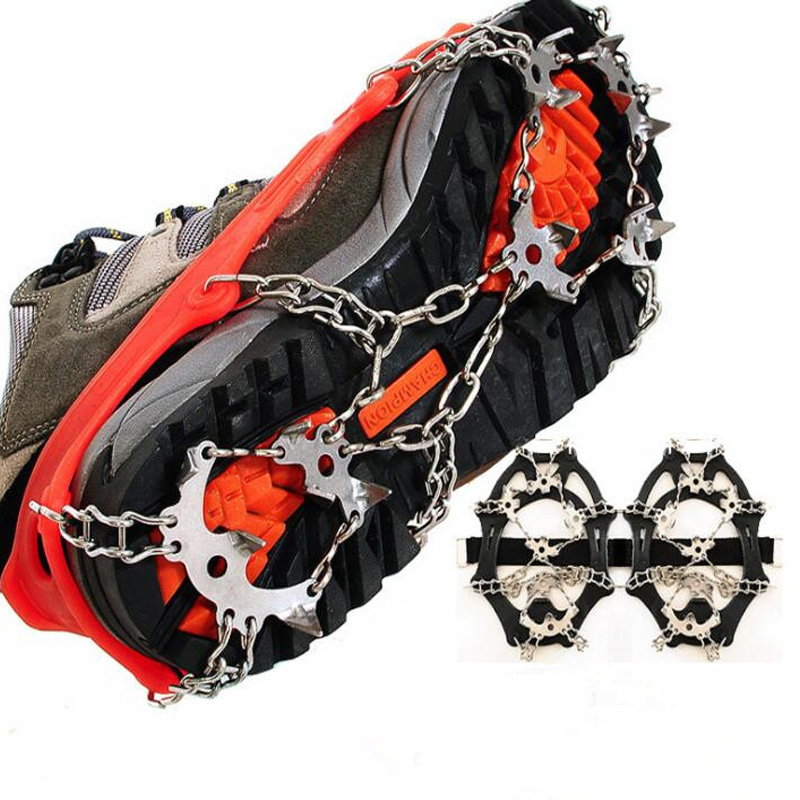 1 Pair18 Studs Safety Anti-Skid Snow Ice Climbing Shoe  Spikes Grips Crampons Cleats Overshoes