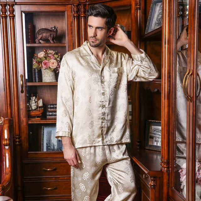 YIER Brand Men 100% Silk Pajama Long-Sleeve Men Pyjamas Men's Sleepwear Sets Pants 100% Silk Pajamas Set Loungewear Clothes