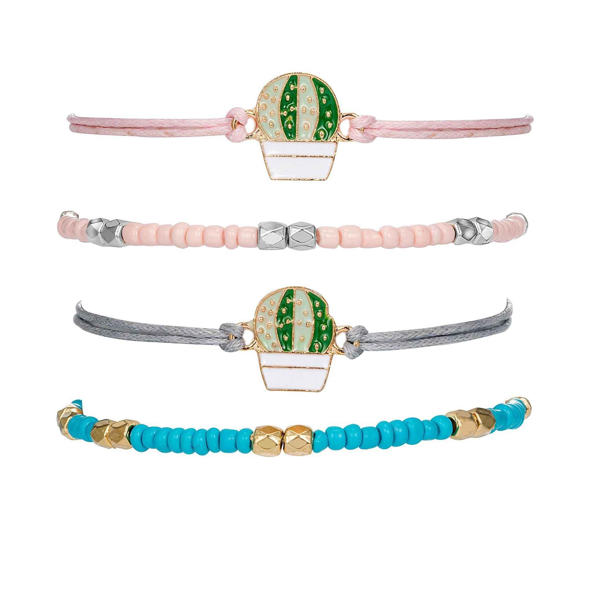 4 sztuk/zestaw 2019 lato nowy świeży różowy niebieski bransoletka z paciorkami Vintage Boho opuncja Cactus Charm bransoletki z rzemykami bransoletki dla Wome