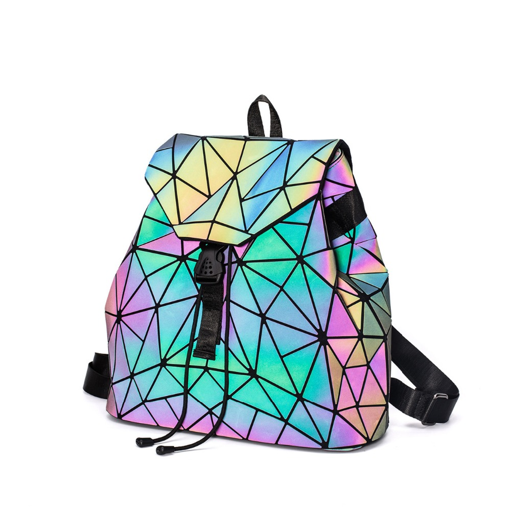 Luminous Geometry Women Backpack Shoulder Bag Folding Student Drawsting School Bags For Teenage Girl Hologram Female Backpacks