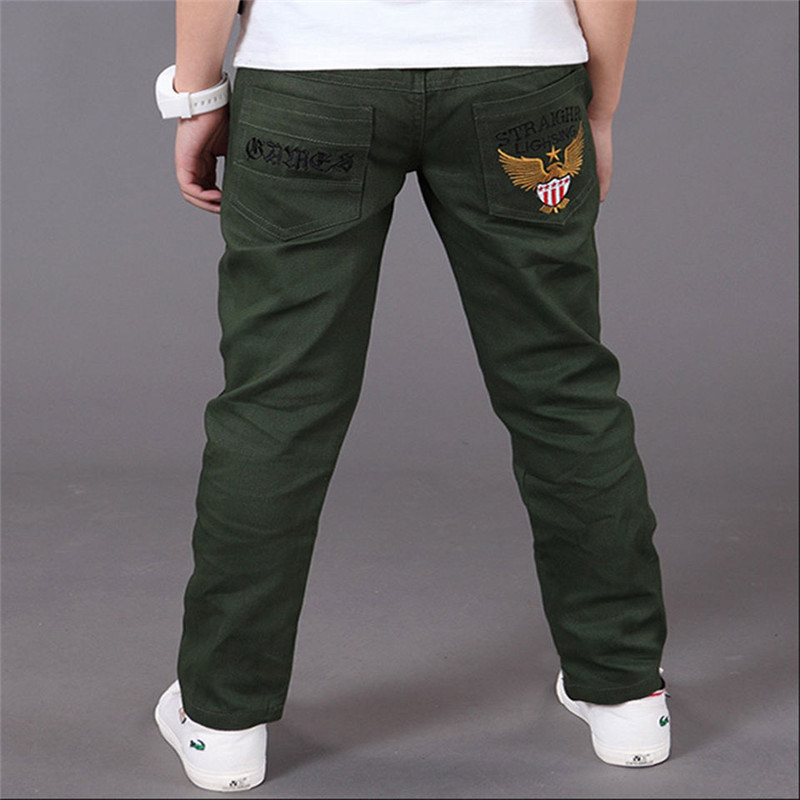 2018 New Fashion Letter Kids Boys Pants Trousers Casual Cotton Elastic Waist Pencil Pants For Boys Children Clothing 4-16T Ds175 new fashion women slim jeans casual roses embroidery pencil pants female short trousers for ladies