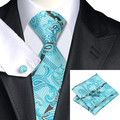 2016 Fashion Turquoise Paisley Tie Hanky Cufflinks Silk Necktie Ties For Men Formal Business Wedding Party C-570