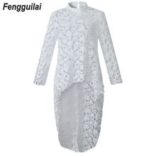 Casual Lace Blouse Women White Tops 2019 Summer Tunic Sexy Irregular Hem Hollow Tops Sexy Blouse Beach Blusas Shirts S-5XL недорого