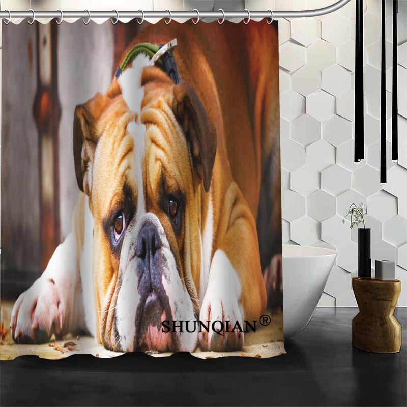 Best Nice Custom English Bulldog Shower Curtain Bath Waterproof Fabric Bathroom MORE SIZE A61 47