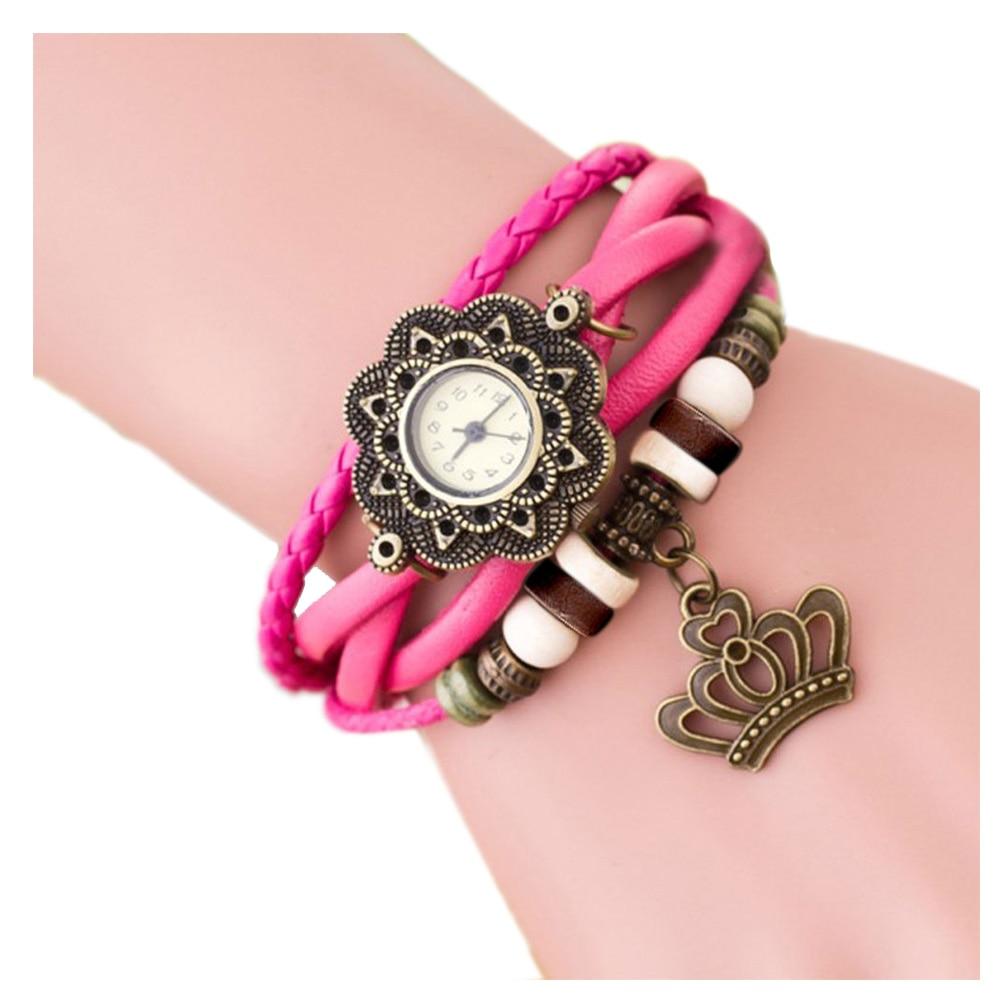 Weaving Coils Quartz Analog Vintage Leather Bracelet Ladies Watch (Crown, Pink)