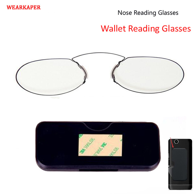 WEARKAPER TR90 Clip Nose Reading Glasses Mini Folding Wallet Reader Thin Portable with Phone Stands With Case 1 To 3
