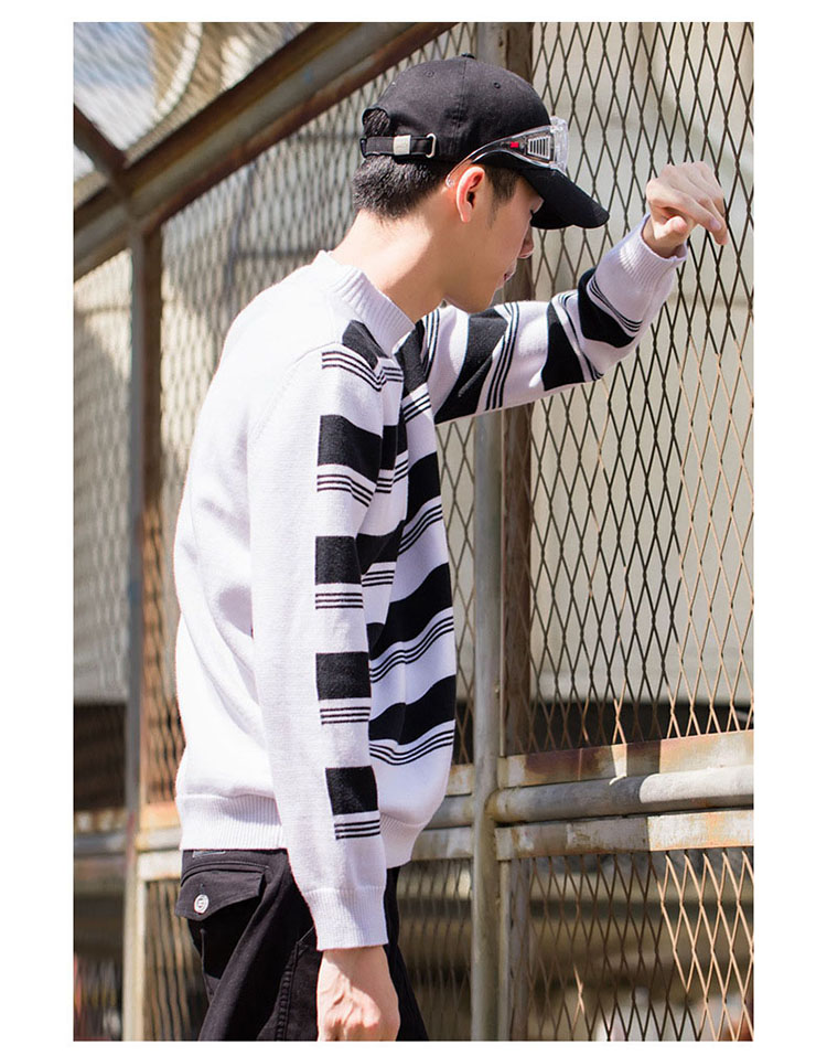 Aolamegs Striped Sweater Men Autumn Winter Fashion Casual Sweater Pullovers Harajuku Youth Couples Stripe Knitting Tops Clothing (11)