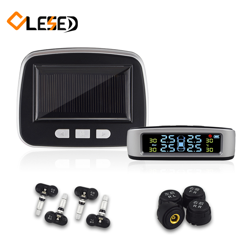 Car TPMS Tire Pressure Monitoring System Auto Alarm System Wireless Solar Charging HD Digital LCD Display With Sensor solar car tpms tire pressure monitoring system 4 external sensor auto alarm system wireless car pressure monitor lcd display