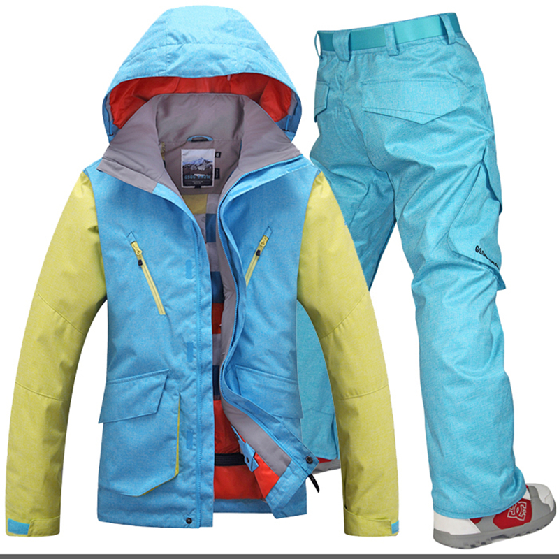 Ski Jacket+Pant Men Windproof Waterproof Snowboard Wear Male Warm Outdoor Sport Coat Men Gsou Snow Large Size New Ski Suit купить