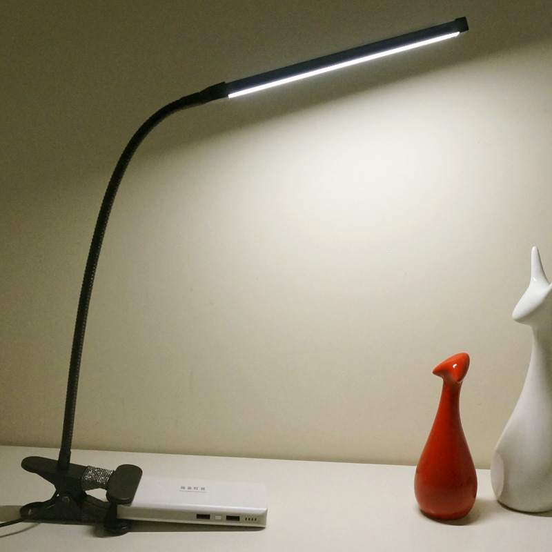 Eye Protection Dimmable LED Desk Lamp With Clip Two Level Brightness Switch Dimmer USB Flexible Table