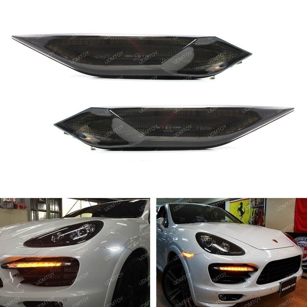 CYAN SOIL BAY Smoked Lens Amber/White Switchback LED Side Markers For 11-14 Porsche Cayenne cyan soil bay 1pc white 3030 chip 4smd