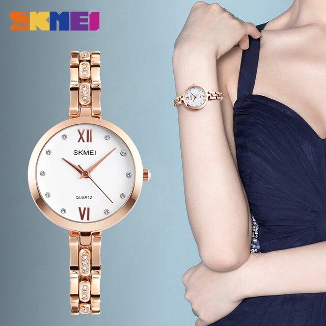 4c723ff0da6 SKMEI 1225 Mulheres relógios de Pulso de Quartzo Elegante Elegante Strass  Escala À Prova D