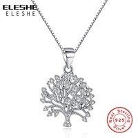 ELESHE Bán Buôn Chuỗi Dài 925 Sterling Bạc Tree của cuộc sống Necklace Pendant Đối Với Phụ Nữ Tình Yêu Vòng Cổ Pha Lê Đồ Trang Sức Thời Trang