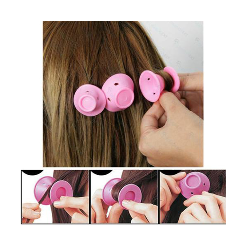 10pcs Soft Rubber Pink curls magic  hair curlers Care Rollers Silicone hair curlers rollers No Heat Hair Styling curler Tool