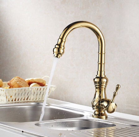 New Arrival Gold kitchen faucet ,water tap kitchen Swivel Spout Vanity Sink Faucet Mixer Tap Single Handle new arrival without original box house kitchen cart barbecue kitchen cart simulation role playing best early education toys