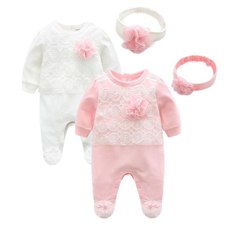 2018 spring baby products lace long sleeve   rompers   + headwear 2 pieces Organic Baby Clothes princess newborn Girl Jumpsuit