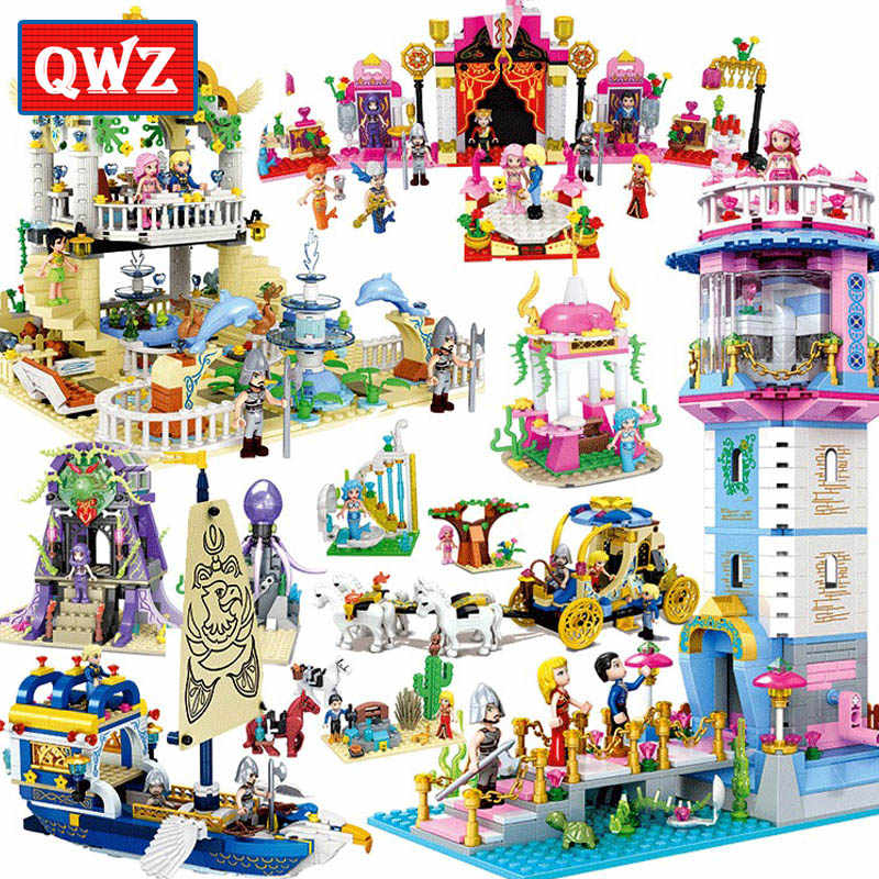 QWZ Girls Toys Mermaid Princess Model Building Blocks Bricks Educational Toy Friends For Kids Gifts