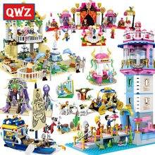 QWZ kız oyuncak denizkızı prenses modeli yapı taşları tuğla eğitici oyuncak arkadaşlar çocuklar için hediyeler