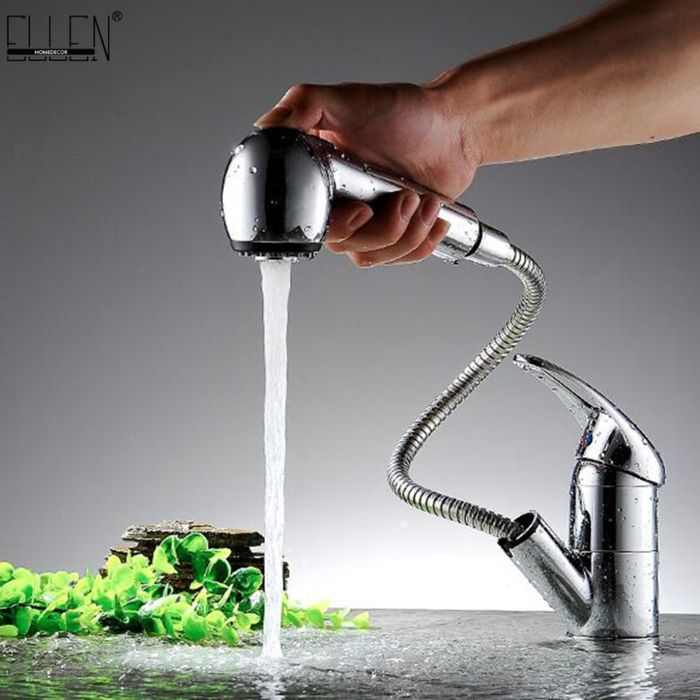 Deck Mounted Pull Out Kitchen Faucet Hot and Cold Water Mixer Crane Single Hole Pull Down Kitchen Sink Water Tap Copper MLK901
