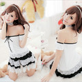 The new 2015 sexy lingerie lace nightclub bar maid outfit off-the-shoulder nightgown AQ33