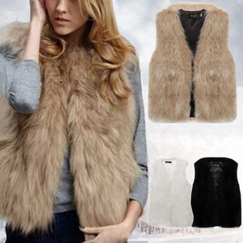 Autumn Winter Women Fur Vest Warm Faux Fox Short Jacket Vests Furs Coats Lady Casual Gilet Outwear S-3XL -MX8