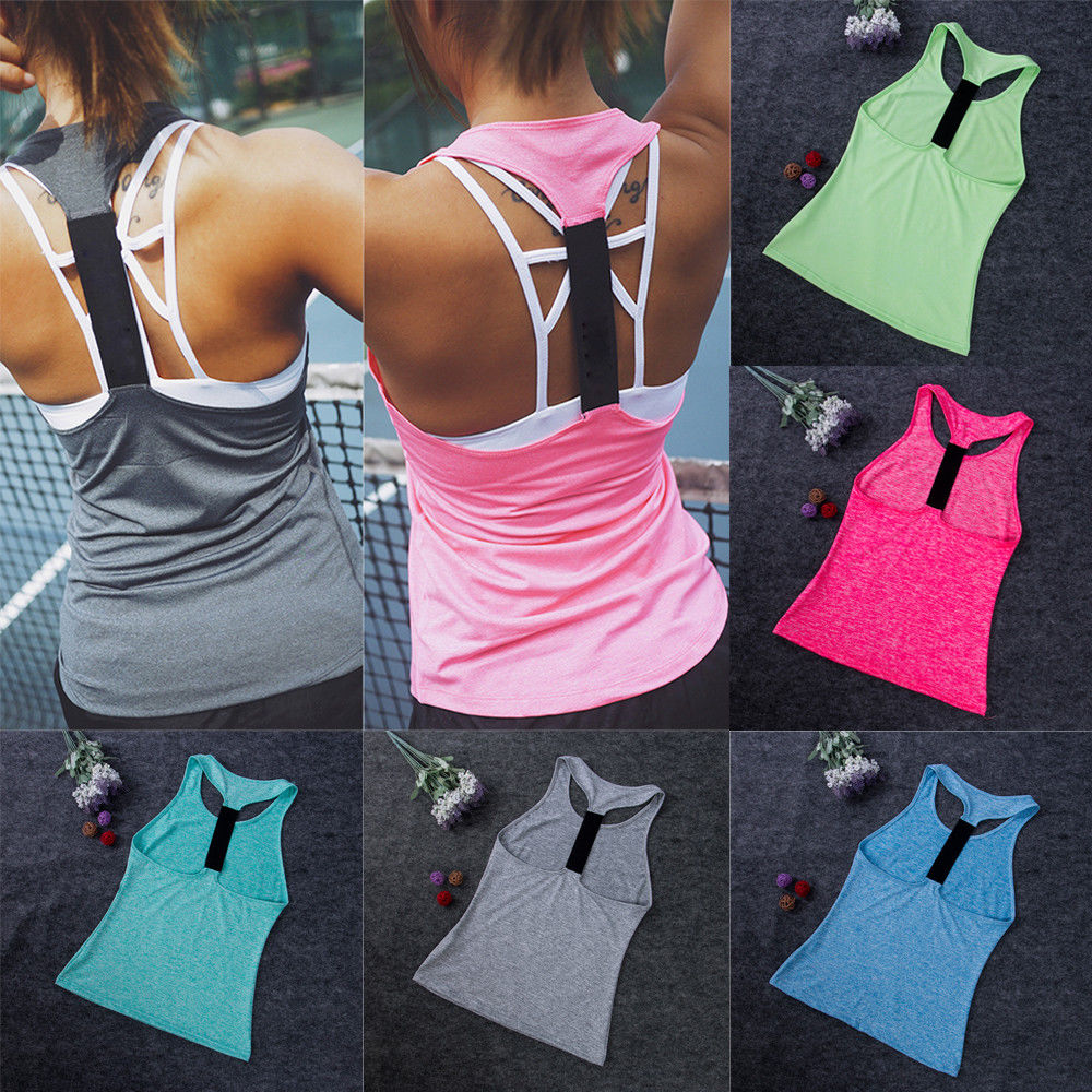 Casual Sleeveless Yoga Shirts Women Gym Tank Vest Tops Running Sporting Stretch Fast Dry Wicking Fitness Sports Bras