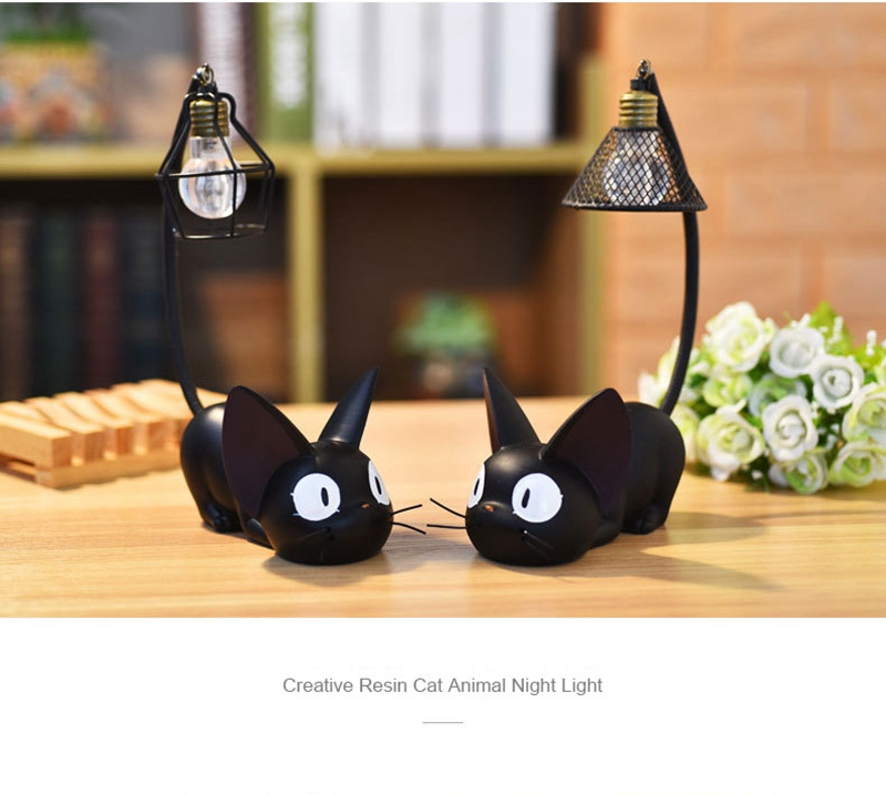 LED Night Light Creative Resin Cat Animal Night Light Ornaments Home Decoration Gift Small Cat Night Lamp (5)
