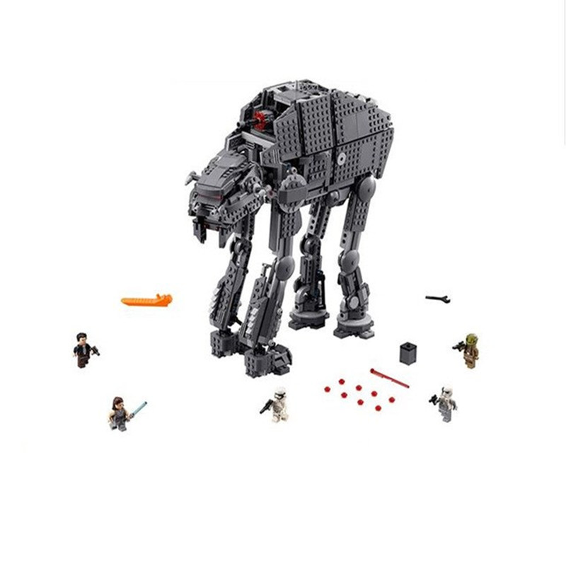 все цены на 1541pcs Diy Legoingly Star Wars Clone First Order Heavy Assault Walker Blocks Bricks Model 75189 Toys For Children Brinquedos