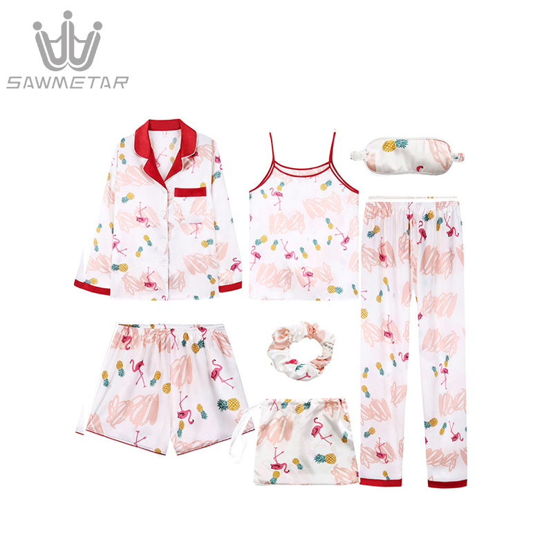 Women Summer Pajamas Sets Emulation Silk Pijama 7 Pieces Sets Pyjamas Women Long Sleeve Print Sleepwear Turn Down Collar Pajamas in Pajama Sets from Underwear Sleepwears