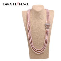 Multilayer Butterfly Connectors Chains Pearl Necklace Natural Shell Pink Strand Beads Charms Long Pendants Necklaces