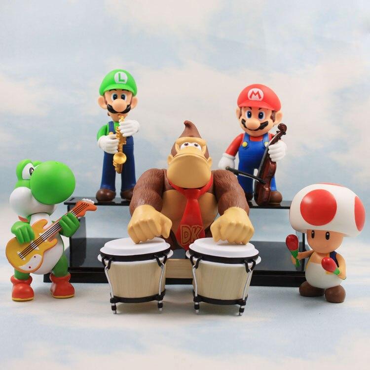 1Set <font><b>Super</b></font> <font><b>Mario</b></font> Bros Luigi Toad Yoshi <font><b>Donkey</b></font> <font><b>Kong</b></font> <font><b>5</b></font> pcs/set 15 cm Music Concert Collection <font><b>Figures</b></font> Kids Toy