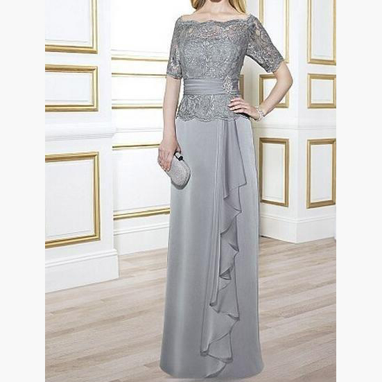 Light Grey Off Shoulder Chiffon With Lace Top Zipper Back Elegant Mother Of The Bride Dress Long Plus Size Vestido De Madrina in Mother of the Bride Dresses from Weddings Events