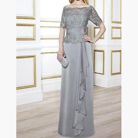 Mousseline De soie gris clair à épaules dénudées avec fermeture à glissière supérieure en dentelle robe mère De mariée élégante longue grande taille Vestido De Madrina