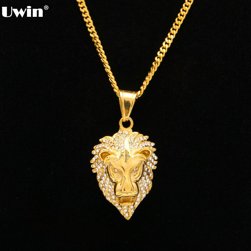 60 cm Longitud de Hip Hop Cubano León Cabeza Colgante De Collar los hombres de Lujo Iced Out Cz Simulado Diamantes de Acero Inoxidable Macho joyería