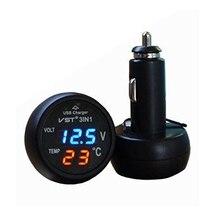 3 in 1 Digital LED car Voltmeter Thermometer 12/24V Cigarette Lighter USB Car Charger (Blue&Red Display)