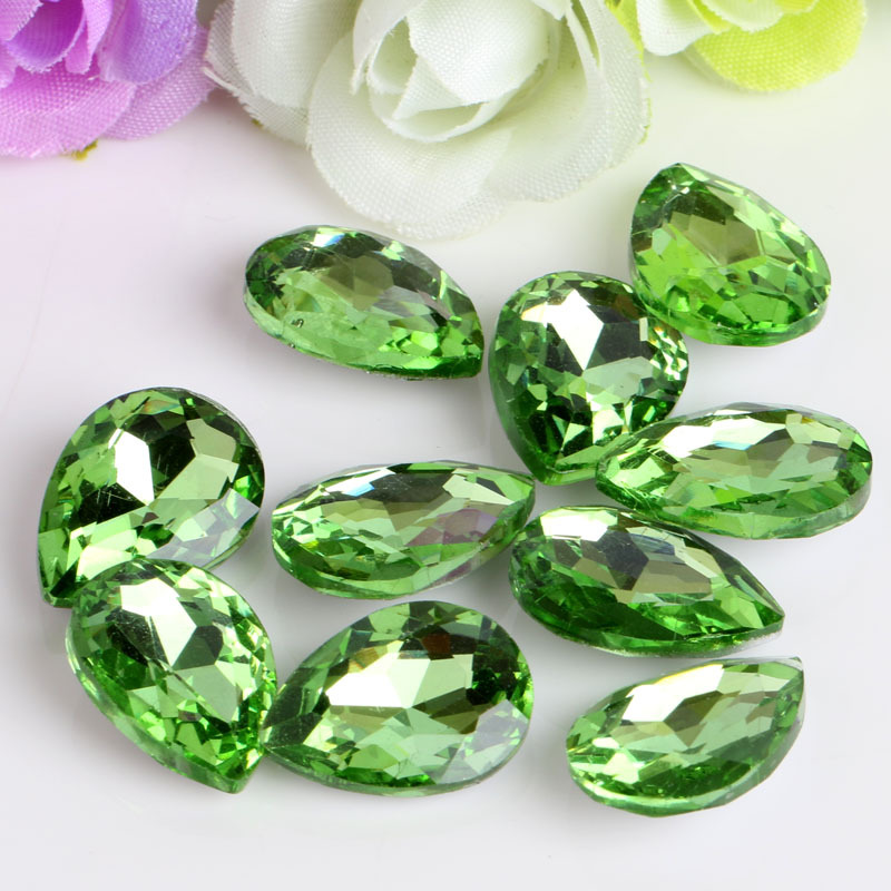 NEW! Apple green drop shaped glass crystal Pointed bottom rhinestones apply to watch Dec ...