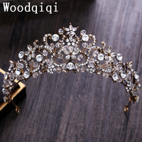 Woodqiqi Bridal Wedding Party Vintage Baroque Tiara American Headdress Jewelry Bride