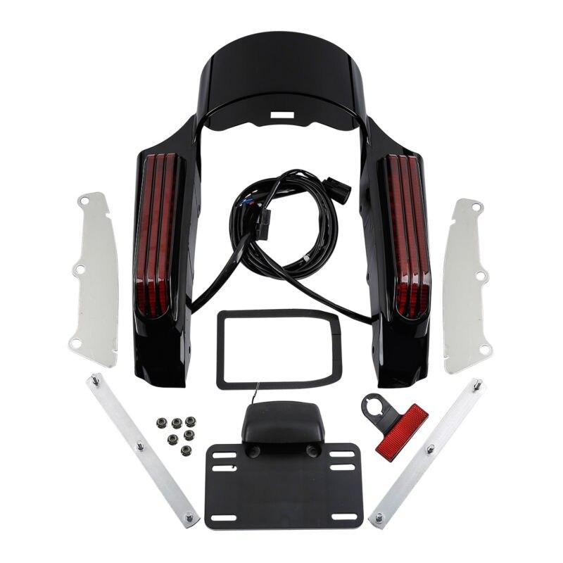 Black Red LED Light Rear Fender Fascia For Harley Touring FLHR FLHX 2014 18 15 16