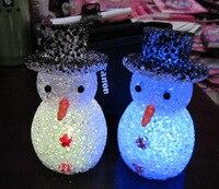 12 шт./лот LED семь Цвет изменение eva снеговика милый мультфильм лампы накаливания Детский подарок Игрушечные лошадки Рождество украшения L035