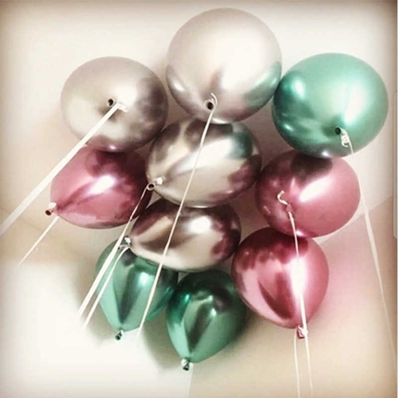Glossy Logam Mutiara Balon Lateks 10 & Quot Tebal Krom Metalik Warna Inflatable Balon Udara Globos Metalicos Pesta Decora