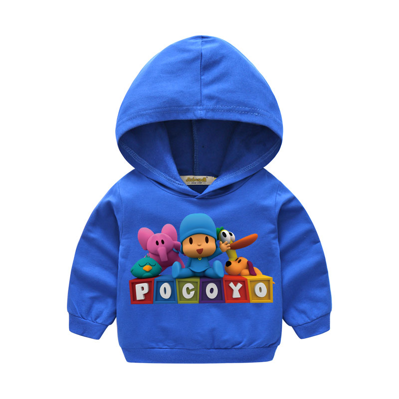 Boy Girls Autumn Clothes Baby 3D Cartoon Pocoyo Tops Hooded Clothing Children Hoodies Clothes For Kids Hoody Sweatshirts LM027