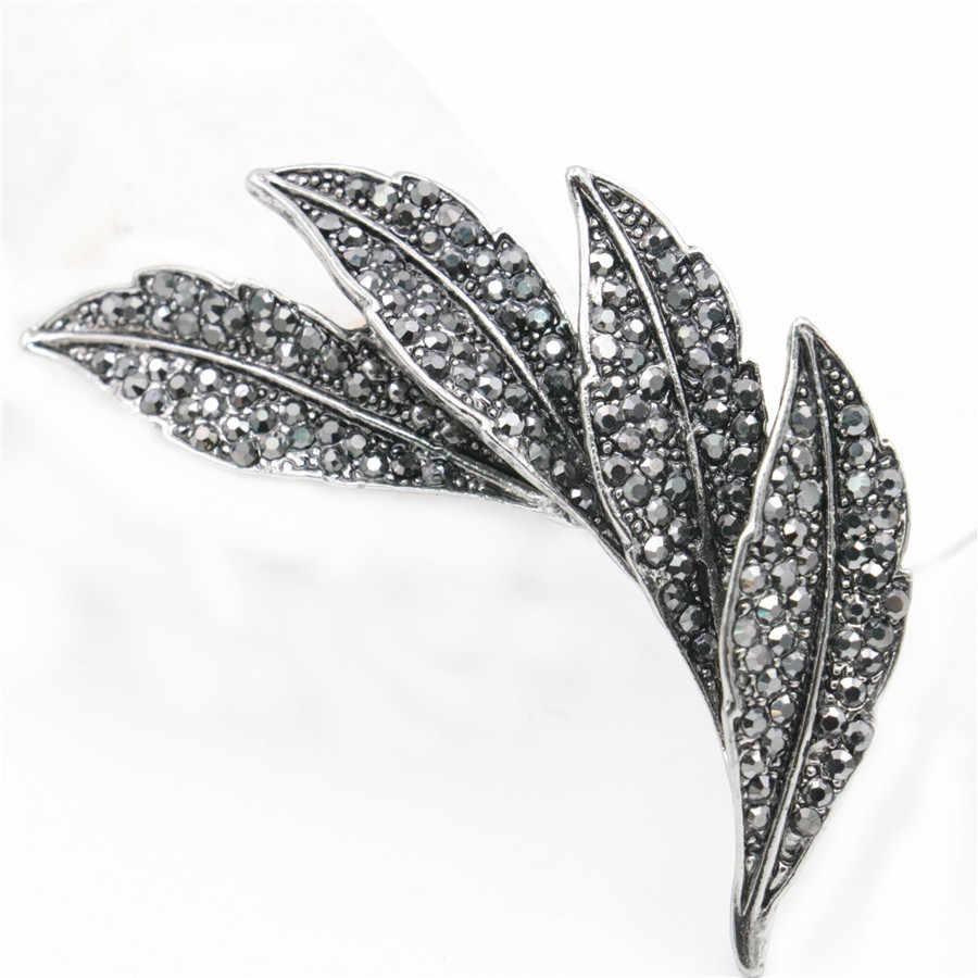 Hitam Berlian Imitasi Bros Bunga Rose Daun Busur Simbol Bros Elegan Breastpin Pernikahan Manik-manik Kaca Baru Kristal untuk Wanita Wanita