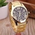 2017 Nova Marca 3 Olhos Genebra Relógio De Ouro Dos Homens de Aço Inoxidável Vestido Relógio Casual Relógios de Quartzo Relogio feminino Quente