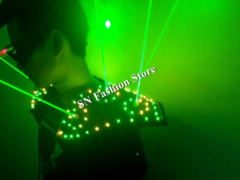 T16 Colorful light ballroom laser vest dj laser costumes dance wears laser glasses red laser suit led clothes shoulder led vest 19