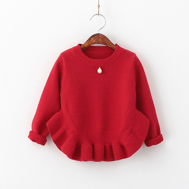 New children clothing female children one pearl long sleeve Sweater Girl's Cardigan knitted pullover sweater